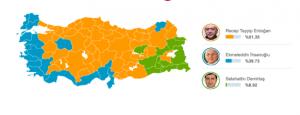 Carte des résultats électoraux 10 août 2014